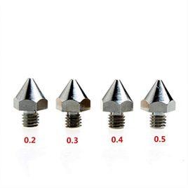 dikavs 4pièces M6Buse de 0,2mm/0,3mm/0,4mm/0,5mm en acier inoxydable de précision pour imprimante 3D 1,75mm MK8MakerBot Ultimaker UM2e3d