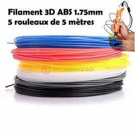 ASSORTIMENT 5 x 5 métres/pcs FILS FILAMENT ABS 1.75 MM POUR IMPRIMANTE 3D OU STYLO 3D Grossiste3D®