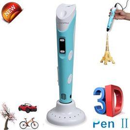 LANMU 3D Impression Pen Impression 3D Pen Impression 3d stylo 3d stylo d'impression intelligente avec 1.75mm d'écran LCD ABS Filament et un adaptateur