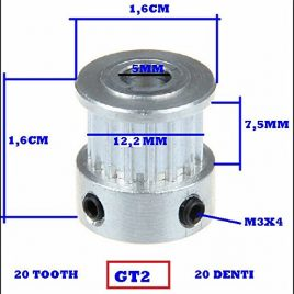 ENGRENAGE POULIE GT 2-20 DENTS POUR IMPRIMANTE 3D CNC TOOTH TIMING PULLEY.PRINTER ARDUINO