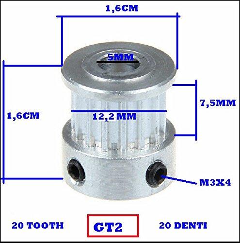 2 GT 20 dents Al/ésage en aluminium Roue synchrone pour largeur 6 mm trou int/érieur 16 dents, trou int/érieur 5 mm Lot de 5 poulies 2GT pour imprimante 3D GT2-16 dents