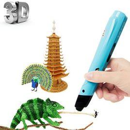 Stylos d'impression 3D, Intelligent Stéréoscopique Stylo d'impression 3D avec l'écran LED, Loisirs Créatifs 3D avec 3 x Filament PLA 3M (rouge, jaune, bleu) gratuit pour Arts, Artisanat, Dessin, Barbouillage, Modélisation