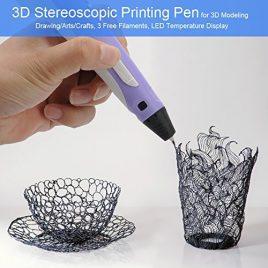 ROGUCI Stylo d'impression stéréoscopique 3D – affichage de la température LED, 3 filaments libres, température + vitesse Contol, Supports ABS / PLA