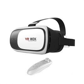 ULTRICS® VR Lunettes Casque, 3D Réalité Virtuelle 360° Montant tête en carton pour jeux de cinéma, sangle ajustable Télécommande Bluetooth gratuite pour Apple Android Téléphone 4,6″
