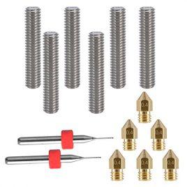 Eaone Lot de 6extrudeurs 30mm avec tube 1,75mm + 6buses en laiton 0,4mm + 2forets de nettoyage pour imprimante 3D MK8 Makerbot Reprap