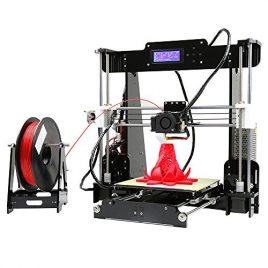 Aibecy Anet A8 Imprimante 3D de Bureau Reprap i3 DIY Kit Haute Précision, Auto-assemblage Auto-nivellement Cadre Acrylique avec Carte Mémoire 8GB Support ABS / PLA / HIP / PP / Filament