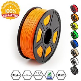 SUNLU 3D Printer Filament PLA Plus, 1.75mm PLA Filament, 3D Printing Filament Low Odor, Dimensional Accuracy +/- 0.02 mm, 2.2 LBS (1KG) Spool 3D Filament, Orange PLA+