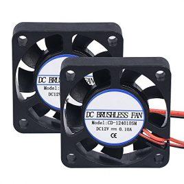 Lot de 2 mini ventilateurs pour imprimante 3D Popprinter de 40 x 40 x 10 mm – 12 V CC – 2 broches