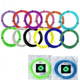 UEETEK 14 couleurs impression 3D Pen Filament recharges Kit 1,75 mm ABS 10M pour chaque rouleau (12 couleurs Normal + Fluorescent vert + Fluorescent bleu)