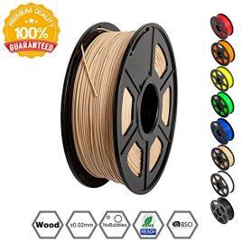 SUNLU Wood Filament – 1.75 mm 3D Printer Filament,1kg Spool (2.2 lbs), Dimensional Accuracy +/- 0.02 mm Sweet Smell 3D Printing Filament, Wood 3D Printer Filaments for Most 3D Printer & 3D Pen